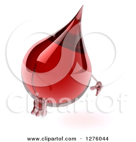 Clipart of a 3d Hot Water or Blood Drop Mascot Facing Right and Pouting - Royalty Free Illustration by Julos