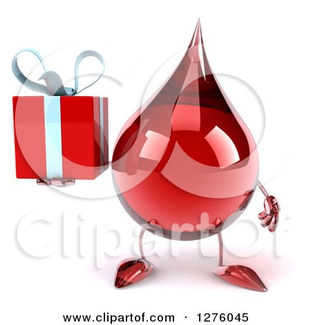 Clipart of a 3d Hot Water or Blood Drop Mascot Holding a Gift - Royalty Free Illustration by Julos