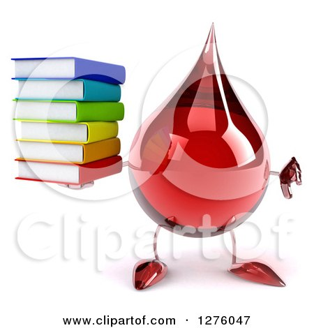 Clipart of a 3d Hot Water or Blood Drop Mascot Giving a Thumb down and Holding Books - Royalty Free Illustration by Julos