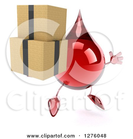 Clipart of a 3d Hot Water or Blood Drop Mascot Facing Right, Jumping and Holding Boxes - Royalty Free Illustration by Julos