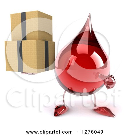 Clipart of a 3d Hot Water or Blood Drop Mascot Holding and Pointing at Boxes - Royalty Free Illustration by Julos
