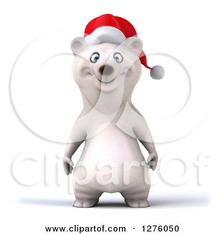 Clipart of a 3d Christmas Polar Bear - Royalty Free Illustration by Julos