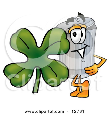 Clipart Picture of a Garbage Can Mascot Cartoon Character With a Green Four Leaf Clover on St Paddy's or St Patricks Day by Toons4Biz