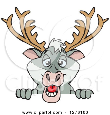 Clipart of a Happy Reindeer Peeking over a Sign - Royalty Free Vector Illustration by Dennis Holmes Designs