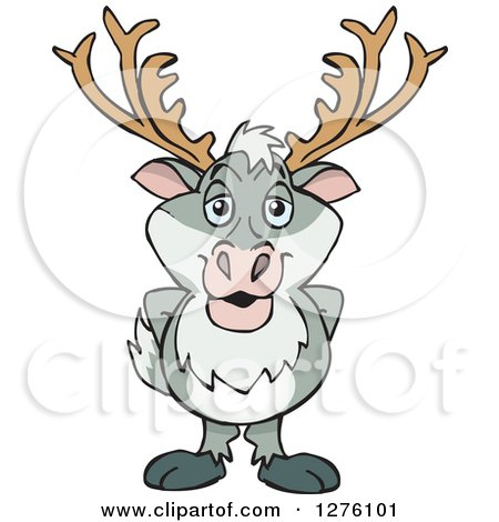 Clipart of a Happy Reindeer Standing - Royalty Free Vector Illustration by Dennis Holmes Designs