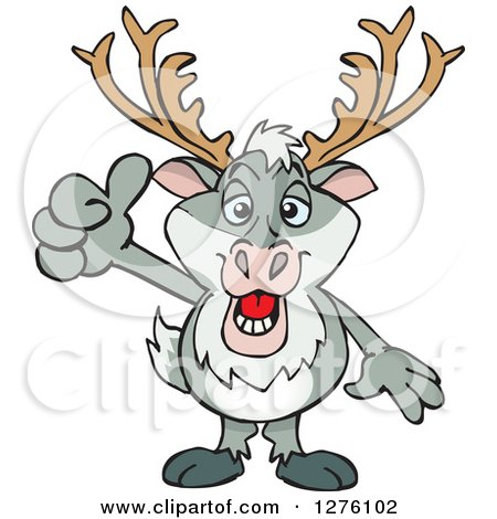 Clipart of a Happy Reindeer Holding a Thumb up - Royalty Free Vector Illustration by Dennis Holmes Designs