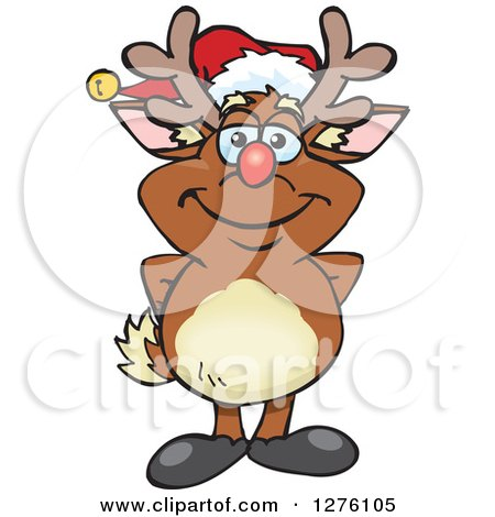 Clipart of a Happy Rudolph Christmas Reindeer - Royalty Free Vector Illustration by Dennis Holmes Designs