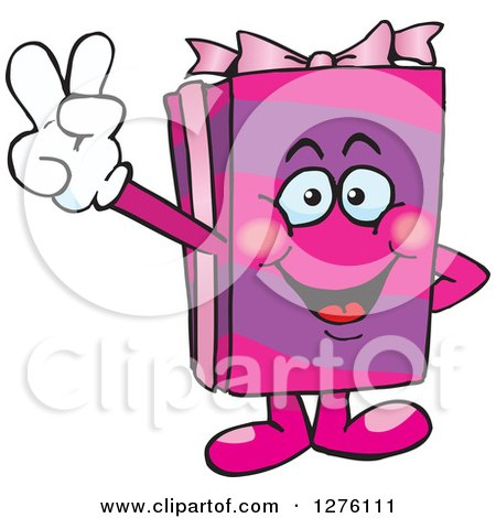 Clipart of a Happy Pink Gift Character Gesturing Peace - Royalty Free Vector Illustration by Dennis Holmes Designs