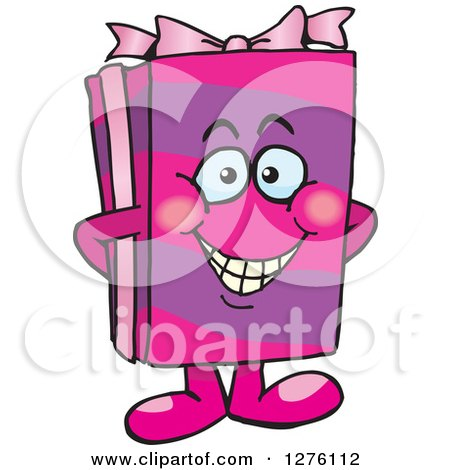 Clipart of a Happy Pink Gift Character - Royalty Free Vector Illustration by Dennis Holmes Designs