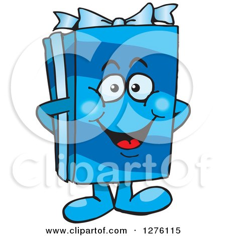 Clipart of a Happy Blue Gift Character - Royalty Free Vector Illustration by Dennis Holmes Designs