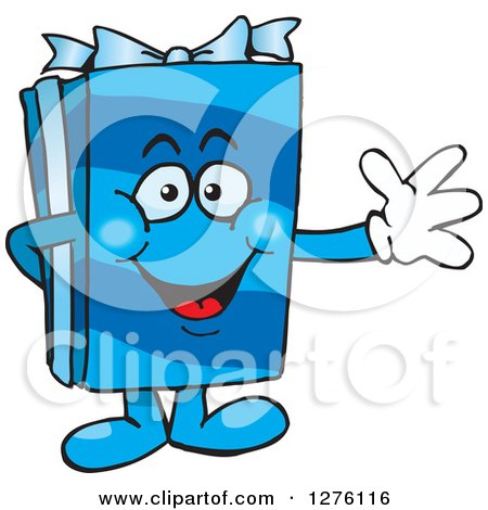 Clipart of a Happy Blue Gift Character Waving - Royalty Free Vector Illustration by Dennis Holmes Designs