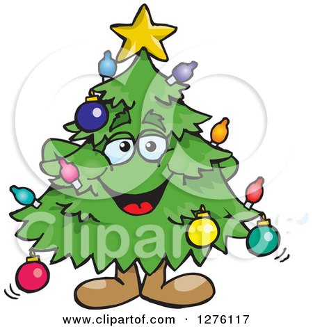 Clipart of a Happy Christmas Tree Standing - Royalty Free Vector Illustration by Dennis Holmes Designs