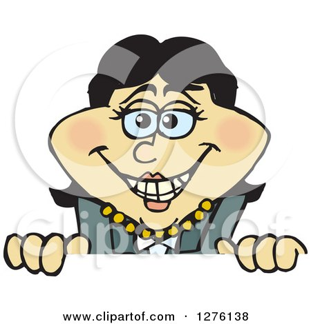 Clipart of a Happy Asian Businesswoman Peeking over a Sign - Royalty Free Vector Illustration by Dennis Holmes Designs