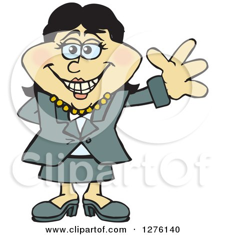 Clipart of a Happy Asian Businesswoman Waving - Royalty Free Vector Illustration by Dennis Holmes Designs