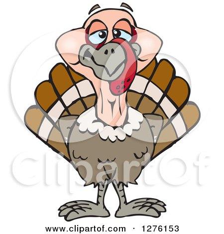 Clipart of a Happy Turkey Bird - Royalty Free Vector Illustration by Dennis Holmes Designs