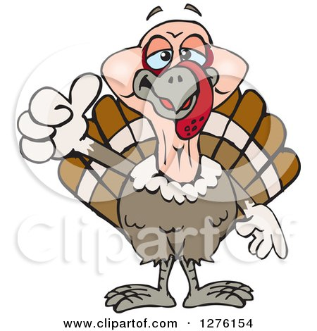 Clipart of a Happy Turkey Bird Holding a Thumb up - Royalty Free Vector Illustration by Dennis Holmes Designs