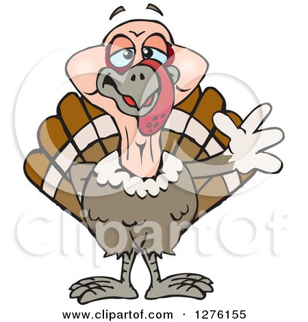 Clipart of a Happy Turkey Bird Waving - Royalty Free Vector Illustration by Dennis Holmes Designs