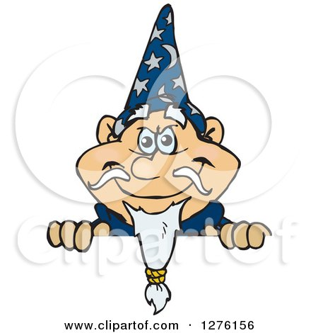 Clipart of a Happy Wizard Peeking over a Sign - Royalty Free Vector Illustration by Dennis Holmes Designs