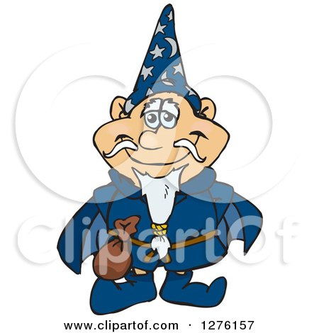 Clipart of a Happy Wizard Standing - Royalty Free Vector Illustration by Dennis Holmes Designs