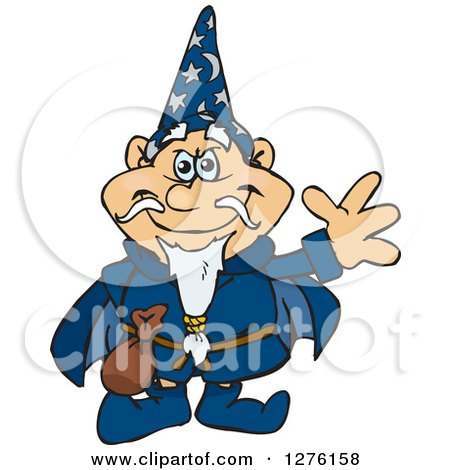 Clipart of a Happy Wizard Waving - Royalty Free Vector Illustration by Dennis Holmes Designs