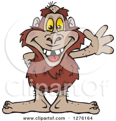 Clipart of a Bigfoot Yowie Waving - Royalty Free Vector Illustration by Dennis Holmes Designs