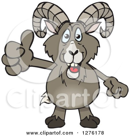 Clipart of a Happy Bighorn Sheep Giving a Thumb up - Royalty Free Vector Illustration by Dennis Holmes Designs