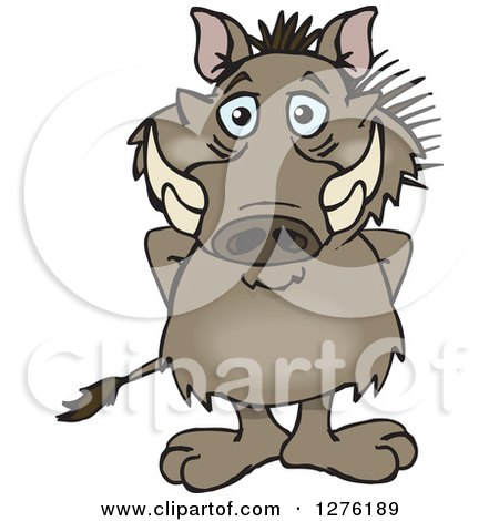 Clipart of a Happy Warthog Standing - Royalty Free Vector Illustration by Dennis Holmes Designs