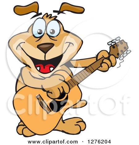Clipart of a Sparkey Dog Playing a Guitar - Royalty Free Vector Illustration by Dennis Holmes Designs