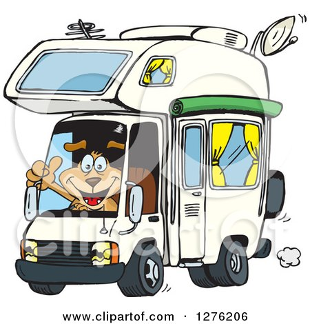 Clipart of a Happy Sparkey Dog Holding a Thumb up and Driving an Rv - Royalty Free Vector Illustration by Dennis Holmes Designs