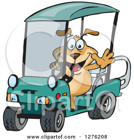 Clipart of a Sparkey Dog Driving a Golf Cart and Waving - Royalty Free Vector Illustration by Dennis Holmes Designs