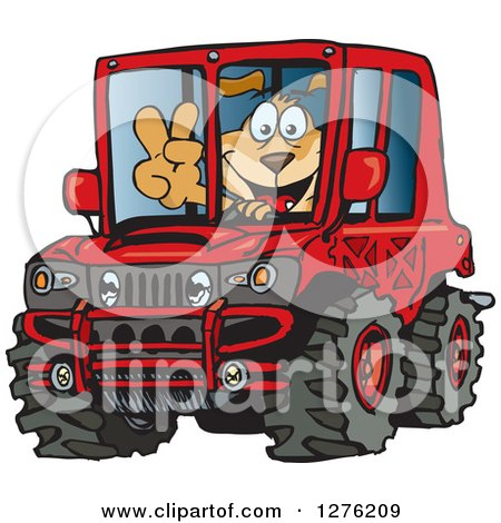 Clipart of a Happy Sparkey Dog Gesturing Peace and Driving a Red Hummer Car - Royalty Free Vector Illustration by Dennis Holmes Designs