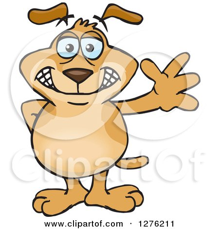 Clipart of a Sparkey Dog Standing and Waving - Royalty Free Vector Illustration by Dennis Holmes Designs
