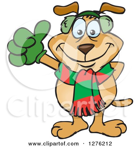Clipart of a Sparkey Dog Wearing a Winter Scarf and Ear Muffs and Giving a Thumb up - Royalty Free Vector Illustration by Dennis Holmes Designs