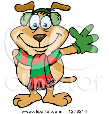 Clipart of a Waving Sparkey Dog Wearing a Winter Scarf and Ear Muffs - Royalty Free Vector Illustration by Dennis Holmes Designs