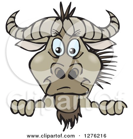 Clipart of a Wildebeest Peeking over a Sign - Royalty Free Vector Illustration by Dennis Holmes Designs