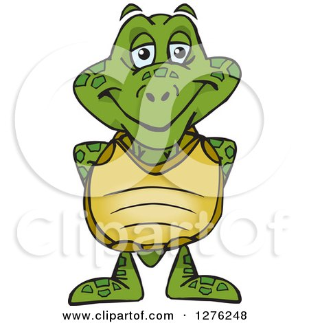 Clipart of a Happy Sea Turtle Standing - Royalty Free Vector Illustration by Dennis Holmes Designs