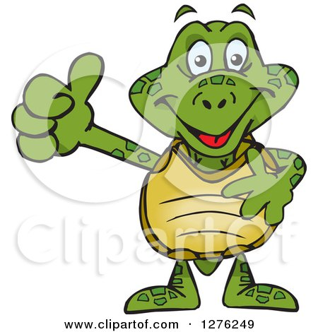 Clipart of a Happy Sea Turtle Holding a Thumb up - Royalty Free Vector Illustration by Dennis Holmes Designs