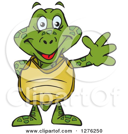 Clipart of a Happy Sea Turtle Waving - Royalty Free Vector Illustration by Dennis Holmes Designs