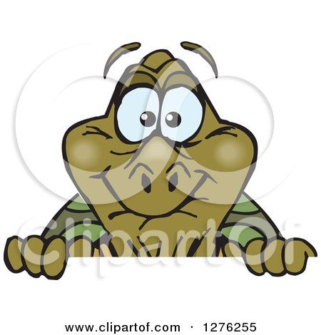 Clipart of a Happy Old Tortoise Peeking over a Sign - Royalty Free Vector Illustration by Dennis Holmes Designs