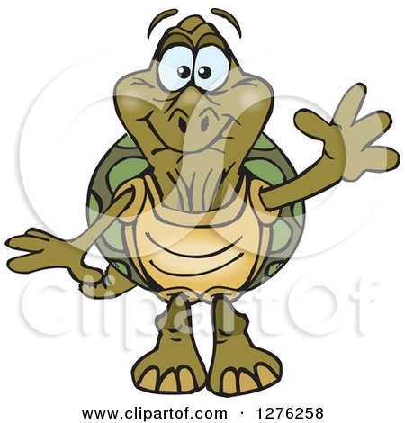 Clipart of a Happy Old Tortoise Waving - Royalty Free Vector Illustration by Dennis Holmes Designs