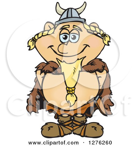 Clipart of a Happy Blond Male Viking - Royalty Free Vector Illustration by Dennis Holmes Designs