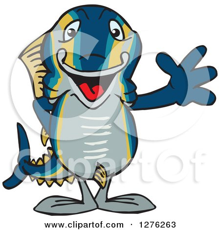 Clipart of a Happy Tuna Fish Waving - Royalty Free Vector Illustration by Dennis Holmes Designs