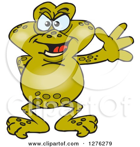 Clipart of a Happy Toad Waving - Royalty Free Vector Illustration by Dennis Holmes Designs