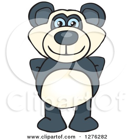 Clipart of a Happy Blue Eyed Panda Standing - Royalty Free Vector Illustration by Dennis Holmes Designs