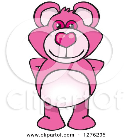 Clipart of a Pink Teddy Bear Standing - Royalty Free Vector Illustration by Dennis Holmes Designs