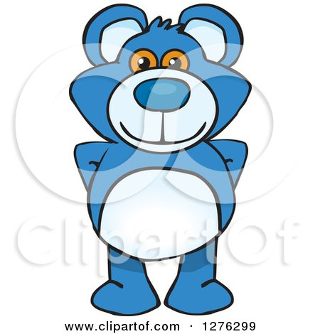 Clipart of a Blue Teddy Bear Standing - Royalty Free Vector Illustration by Dennis Holmes Designs