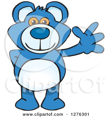 Clipart of a Blue Teddy Bear Waving - Royalty Free Vector Illustration by Dennis Holmes Designs