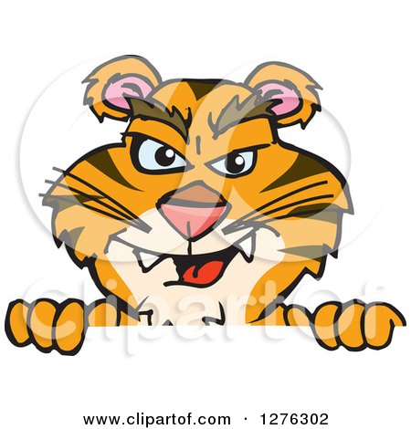 Clipart of a Tiger Peeking over a Sign - Royalty Free Vector Illustration by Dennis Holmes Designs