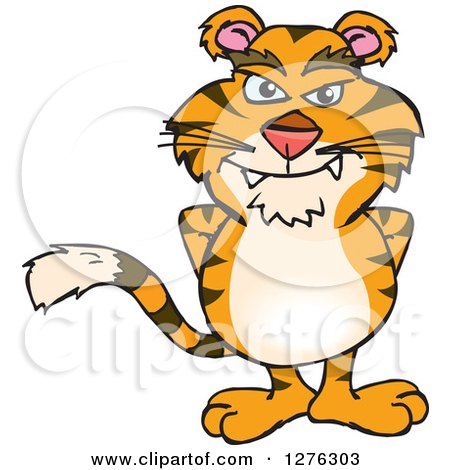 Clipart of a Tiger Standing - Royalty Free Vector Illustration by Dennis Holmes Designs