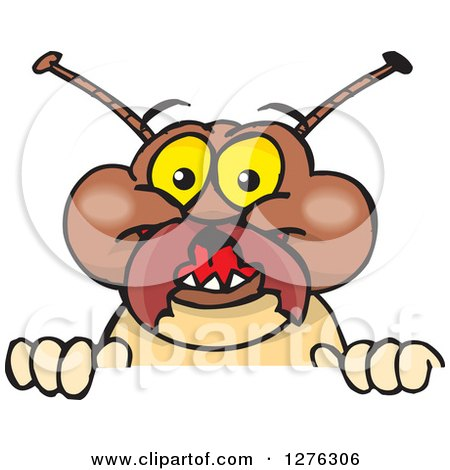 Clipart of a Happy Termite Peeking over a Sign - Royalty Free Vector Illustration by Dennis Holmes Designs